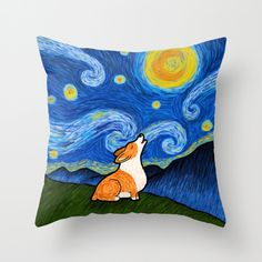 These Starry Baroo Corgi Pillows feature my original Welsh Corgi artwork inspired by Vincent Van Dogh. These pillows make a great gift for the corgi lover and a