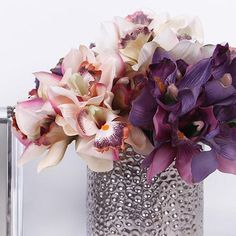 """Silk 7 Cymbidium Orchid Bouquet in 5 Various Colors 9"""" Tall - Gentille Home Collection - 2"""