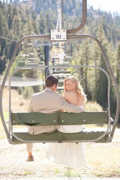 Aww! This ski lift wedding photo is too cute.