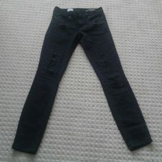 Gap black always skinny jeans These are in excellent condition! There are some distressed holes over patches that came on the jeans, and the black is very black! Inseam is about 32. High rise, always skinny jeans GAP Jeans Skinny