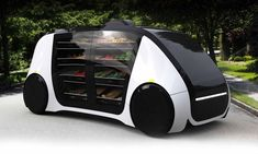 Robomart startup _ a fleet of self-driving vehicles powered by an on-demand ordering system, to deliver groceries at consumers' doorstep Self-driving grocery stores from startup Robomart will deliver fruits and vegetables to customers' door. Delivery Robot, Monospace, E Mobility, Future Transportation, Futuristic Cars, Futuristic Vehicles, Futuristic Technology, Futuristic Architecture, Energy Technology