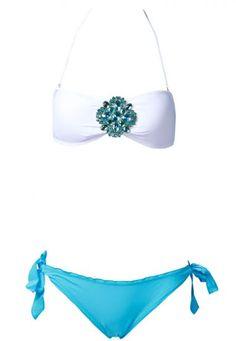White Jeweled Bandeau Top with Blue Frill Bottom Bikini