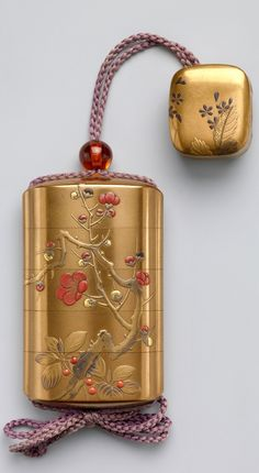 Inrō with Design of Blossoming Plum Tree by Hara Yōyūsai medium: Sprinkled gold lacquer with gold, silver, and red makie, takamakie, and coral inlay Ojime: bead; tortoiseshell Netsuke: box with. Japanese Culture, Japanese Art, Japanese Design, Plum Tree, Art Japonais, Edo Period, Objet D'art, Japanese Beauty, Asian Art