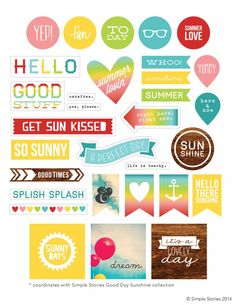 Free Printable from Simple Stories for National Scrapbook Day Printable snippets for scrapbook, journal, or smash book. Project Life Karten, Project Life Freebies, Project Life Cards, Project Life Planner, Free Planner, Printable Planner, Happy Planner, Free Printables, Summer Planner