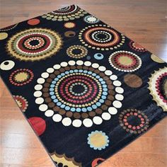 Delectably-Yours.com City Circle Dots Black Area Rug 5x8 8x10 and 2x8 hall runner  #DelectablyYours Contemporary Modern Rugs and Decor
