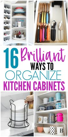 16 Genius Ways To Organize Kitchen Cabinets. These kitchen organizing ideas will help you organize kitchen cabinets quickly and easily. Don't miss these 16 kitchen organization ideas from all around the web. Organisation Hacks, Organizing Hacks, Organizing Your Home, Diy Organization, Diy Hacks, Dollar Store Organization, Organizing Ideas For Kitchen, Organization Ideas For The Home, Ways To Organize Your Room