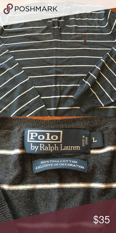 Mens - Polo - striped sweater - Size L Had for about a year and worn once. Gray with Very light gray stripes. Horse logo is maroon Ralph Lauren Sweaters V-Neck