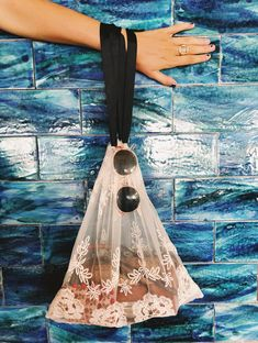 White Lace Bag - Large - Bag-all Diy Bags Purses, Diy Purse, Diy Embroidery Frame, Bag Organization, Organizing Bags, Lace Bag, Garment Bags, String Bag, Pet Bottle