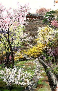 """북한의 공훈예술가 김정태 작품 """"귀면암의 가을"""". 작가는 1948년 출생하여 평양미대를 졸업 후 백호창작사에서 색채가 부드럽고 무게가 있으며 감정이 매우 풍부한 작품들을 창작해 내고 있습니다. 귀면암(鬼面岩)은 Korean Painting, Chinese Painting, Chinese Art, Korean Art, Asian Art, Nature Paintings, Landscape Paintings, L5r, Watercolor And Ink"""