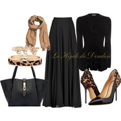 A fashion look from October 2015 featuring v neck tops, chiffon maxi skirt and pointed-toe pumps. Browse and shop related looks. Cute Skirt Outfits, Maxi Outfits, Hijab Outfit, Classy Outfits, Chic Outfits, Beautiful Outfits, Modesty Fashion, Muslim Fashion, Hijab Fashion