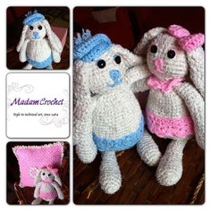 Crochet bunny and pillow  by MadamCrochet on Etsy, $180.00