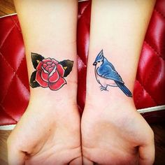 Rose and blue jay. All Saints Tattoo in Austin, TX.