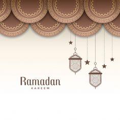 Decorative ramadan kareem festival greeting Free Vector