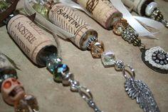 Wine Cork Ornaments, Wine Cork Crafts, Bottle Crafts, Wine Bottle Charms, Wine Bottles, Recycled Wine Corks, Hostess Gifts, Beaded Jewelry, Cork Ideas