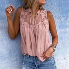 Women Mesh Splicing Sleeveless Casual Plus Size Blouse - Pink, XXL Blouse Col V, V Neck Blouse, Short Sleeve Blouse, Long Sleeve, Mode Outfits, Chic Outfits, Cooler Look, Mode Chic, Sleeveless Shirt