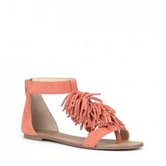Comfortable suede fringe sandals in a fun orange coral color for spring | Koa by Sole Society