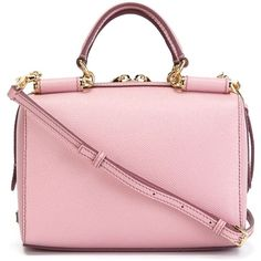 Dolce & Gabbana mini 'Miss Sicily' tote (1,778 CAD) ❤ liked on Polyvore featuring bags, handbags, tote bags, zip tote, zippered leather tote, pink leather purse, pink leather handbag and leather zip tote