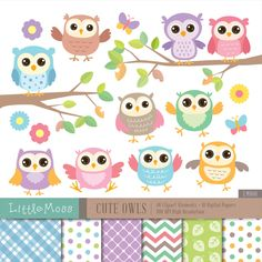 Cute Owls Digital Clipart and Papers van LittleMoss op Etsy