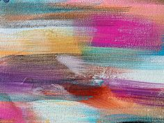 Abstract horizontal pink, blue and purple brushstroke painting.