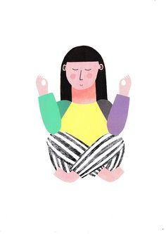 Süße Illustration vom Lotussitz: Motivationsposter fürs Yoga. Geschenke kaufen von Anna Katharina Jansen via DaWanda.com
