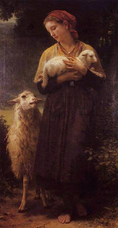 The Shepherdess, 1873.  By William Adolphe Bouguereau (French painter, 1825-1905).
