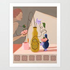 Floral Arrangement Art Print by artyguava Buy Frames, Wooden Frames, Printing Process, Floral Arrangements, Fine Art Prints, Gallery Wall, Vase, Make It Yourself, Cotton