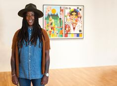 Artist Nina Chanel Abney in front of her collage in the Nasher's collection.