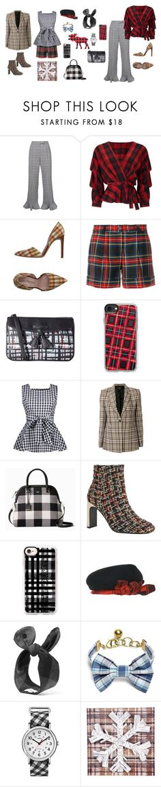 """Plaid For Fun"" by flowerdreams ❤ liked on Polyvore featuring Rosie Assoulin, Miss Selfridge, Marco Barbabella, P.A.R.O.S.H., Vera Bradley, Casetify, Theory, Kate Spade, CA4LA and Maison Michel"