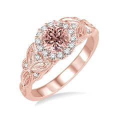 Limited Time Sale 1.25 Carat Peach Pink Morganite (Round Shaped Morganite) and Diamond Engagement Ring in 10k Rose Gold Jewelry by JeenMata on Etsy https://www.etsy.com/listing/487126623/limited-time-sale-125-carat-peach-pink