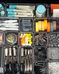 Small glue sticks; dual-action fine-tip glue pens; glittering glue with brush, paper clips, papercloops, colored metal binder clips, rubber band ball, wite-out correction pens
