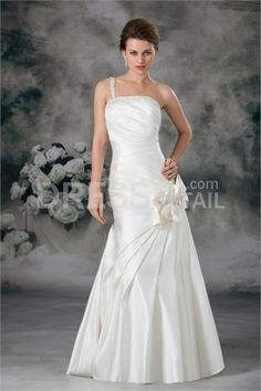 Ivory Spring/ Fall A-Line One-shoulder Floor-length Wedding Dress