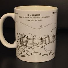 Fender Strat Blueprint Coffee Mug by BlackCatPrints on Etsy