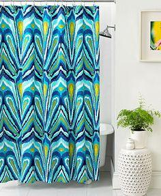 Trina Turk Bath, Blue Peacock Shower Curtain