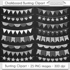 Chalkboard Bunting Clipart Flags Clipart Doodle Bunting by skaior
