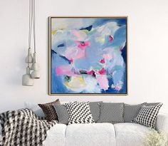 Original Art Blue Abstract Painting Abstract Canvas