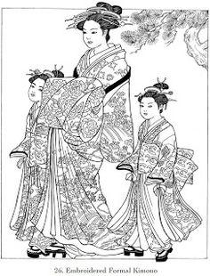 Childhood Education: Japanese Kimono Coloring Pictures - News - Bubblews