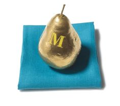 Thanksgiving Place Cards: Monogrammed Gilded Pear