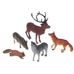 Woodland Animals, Forest Animals, Toy Forest Animals- Discount Party supply- Spray paint white or gold for tree ornaments