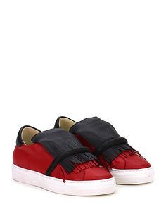 PHILIPPE MODEL PARIS - Sneakers - Women - Sneaker in pelle con doppie frange frontali e suola in gomma. Tacco 30, platform 25 con battuta 5. - RED\BLACK - € 275.00