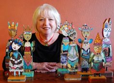 Mary Jane Chadbourne, April 2014, with her mixed media art dolls.  She lives in the desert southwest of the US.