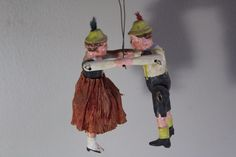 Antique Folk Art Mechanical Carved Wooden Jointed German Dancing Couple Toy Doll  | eBay