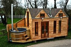 Lloyd's Blog: Tiny Cabin on Trailer with Outdoor Hot Tub Built In -- in UK