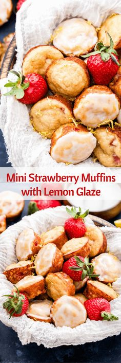 Mini Strawberry Muffins with Lemon Glaze are perfect for spring brunch! Loaded with fresh strawberries and topped with the perfect amount of sweet and tangy lemon glaze makes it hard to only eat one! Brunch Recipes, Breakfast Recipes, Dessert Recipes, Brunch Ideas, Breakfast Muffins, Breakfast Cake, Vegan Breakfast, Breakfast Ideas, Snack Recipes