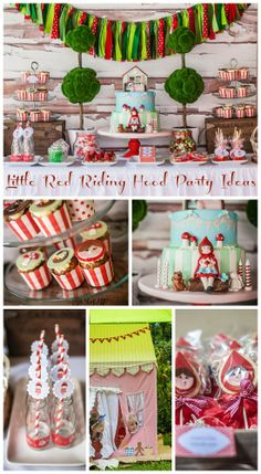 Amazing Little Red Riding Hood party ideas for a girl birthday! Wait until you see the birthday cake! See more party ideas at CatchMyParty.com. #girlbirthday #birthdaycake #littleredridinghood #partydecorations