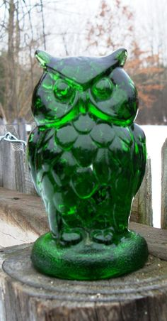 Vintage Green glass Owl paperweight by 2sisterspicks on Etsy, $25.00