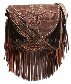 By Collection - Birds Of A Feather - Double J Saddlery - Brown Vintage Eagle Saddle Bag - Fringe Handbags, Fringe Bags, Purses And Handbags, Brown Handbags, Fringe Vest, Fringe Purse, Leather Saddle Bags, Leather Purses, Western Purses