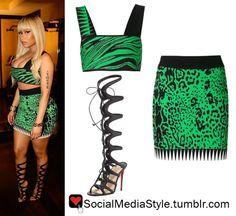 Buy Nicki Minaj's Green Animal Print Crop Top and Skirt and Black Knee-High Gladiator Sandals, here!