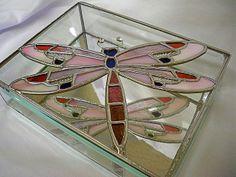 Stylised Dragonfly Fused Glass Trinket Box Jewellery  Keepsake  Mirrored  Gift  Present  Handmade