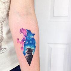 Coloratissimi tatuaggi con animali in stile acquerello di Adrian Bascur
