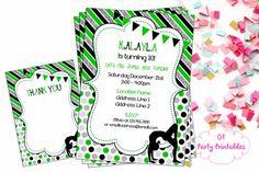 Gymnastics Digital Invitation  Green Black by OTPartyPrintables